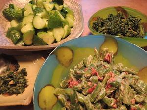 自家製野菜づくしの食卓