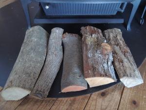 いろいろな樹種の薪